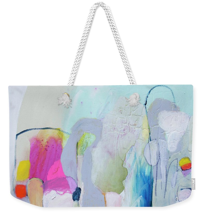 Abstract Weekender Tote Bag featuring the painting 4 Years Ago by Claire Desjardins