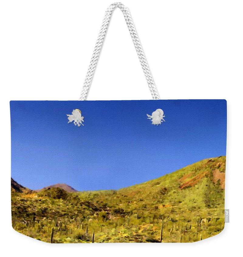 Framed Weekender Tote Bag featuring the digital art Framed Landscape Art by Usa Map