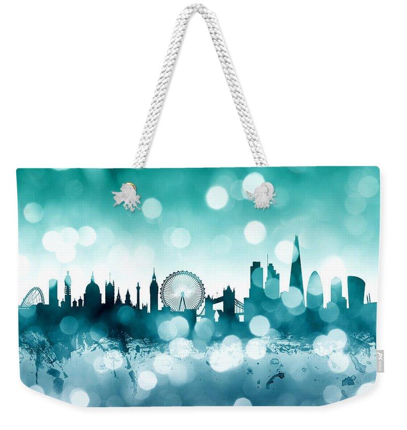 London Weekender Tote Bag featuring the digital art London England Skyline by Michael Tompsett