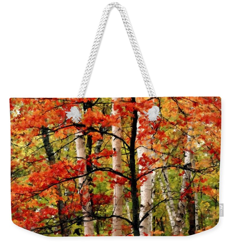 Framed Weekender Tote Bag featuring the digital art Painted Landscape by Usa Map