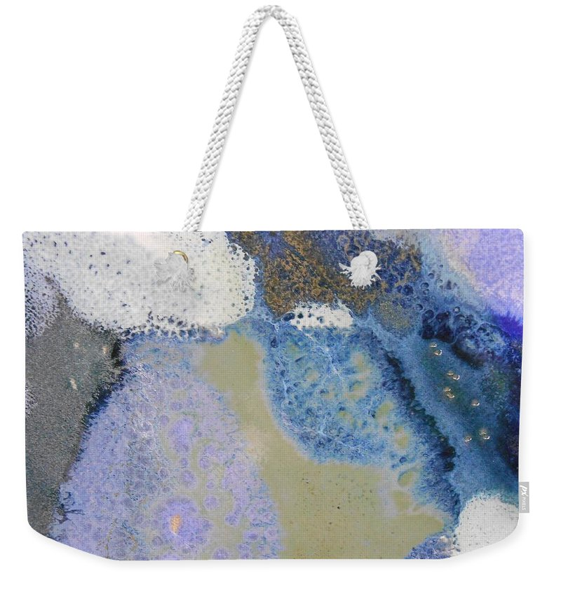 Abstract Weekender Tote Bag featuring the painting 41. Blue Purple White Glaze Painting by Maggie Minor