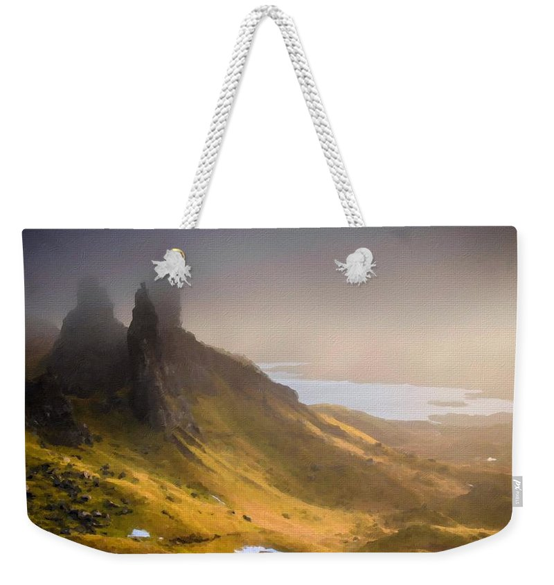 Oil Weekender Tote Bag featuring the digital art C L Landscape by Usa Map