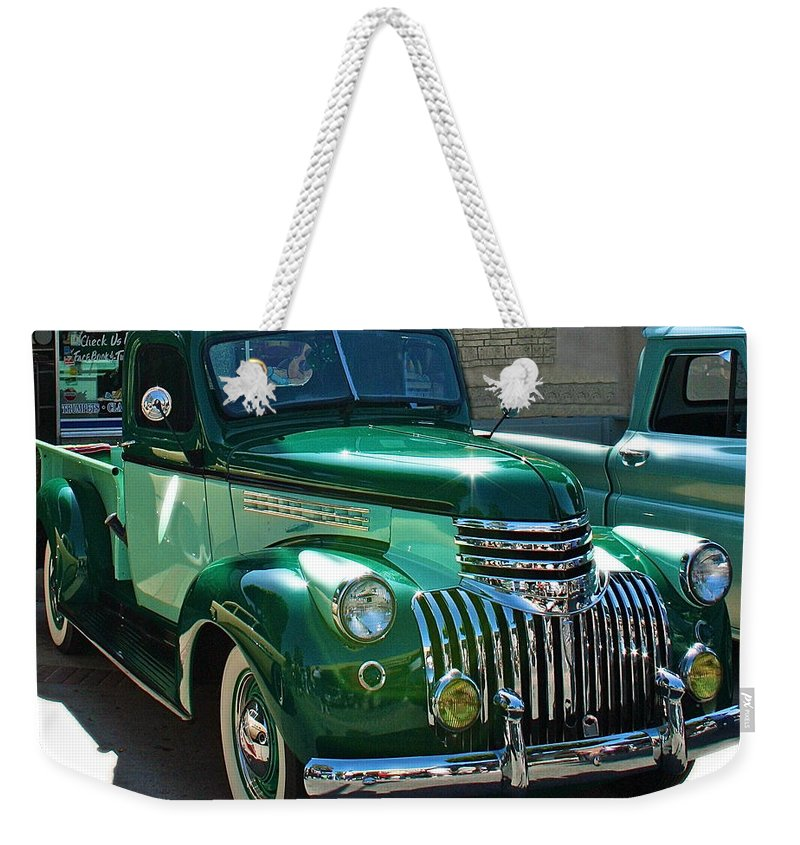 Photograph Of Classic Truck Weekender Tote Bag featuring the photograph 41 Chevy Truck by Gwyn Newcombe