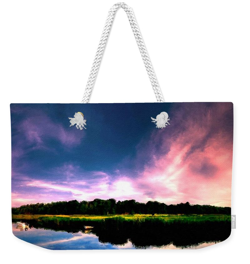 Landscape Weekender Tote Bag featuring the digital art Landscape Wall Art by Usa Map