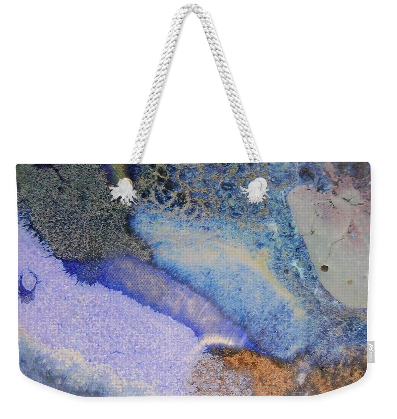 Abstract Weekender Tote Bag featuring the painting 42. Blue Purple Black Glaze Painting by Maggie Minor