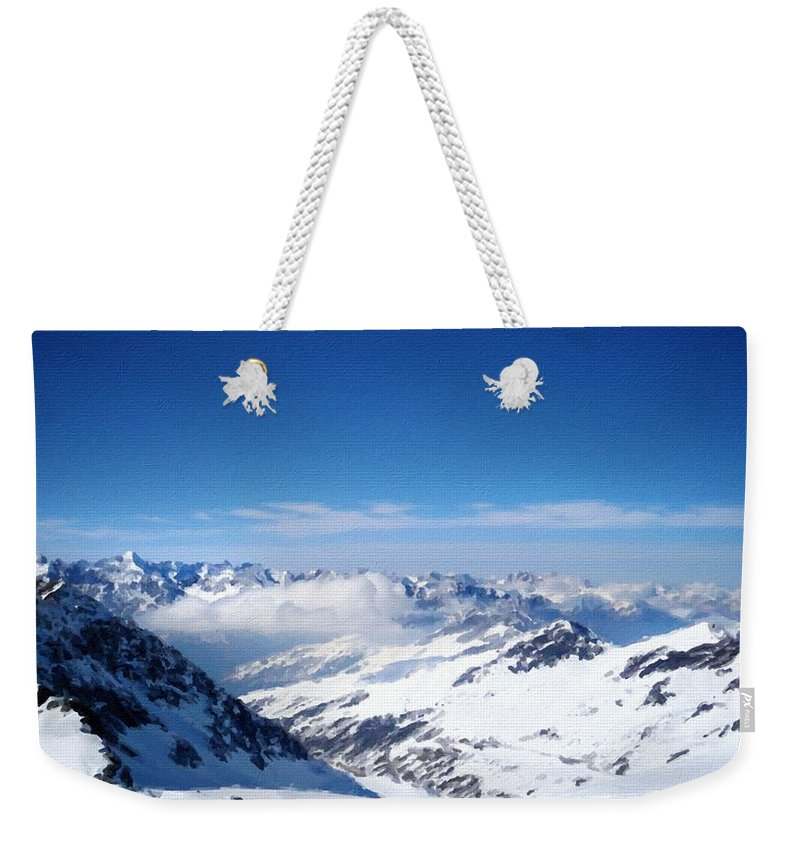 Art Weekender Tote Bag featuring the digital art Landscape Oil Painting On Canvas by Usa Map