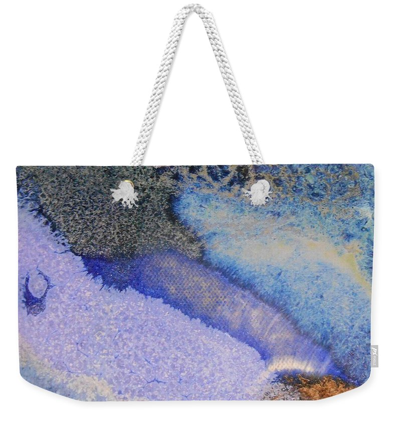 Abstract Weekender Tote Bag featuring the painting 42. V1 Blue Purple Black Glaze Painting by Maggie Minor