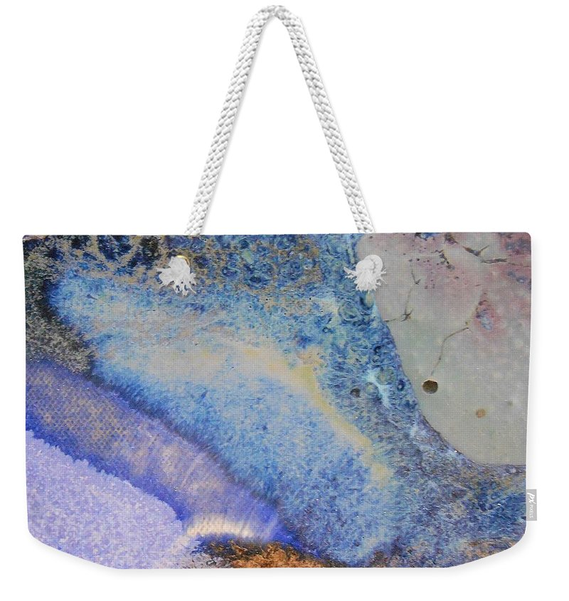 Abstract Weekender Tote Bag featuring the painting 42. V2 Blue Purple Orange Black Glaze Painting by Maggie Minor