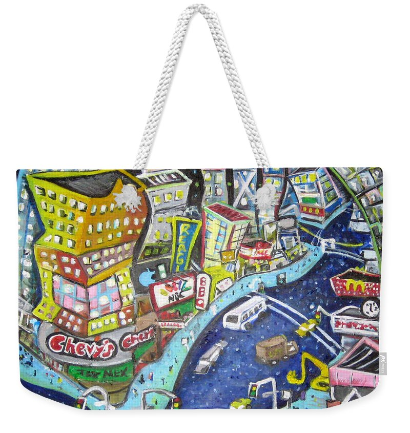 Times Square Weekender Tote Bag featuring the painting 42nd And 8th Street by Jason Gluskin