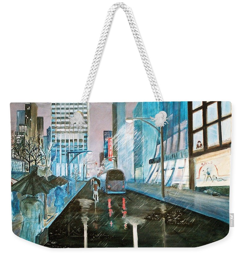 Street Scape Weekender Tote Bag featuring the painting 42nd Street Blue by Steve Karol