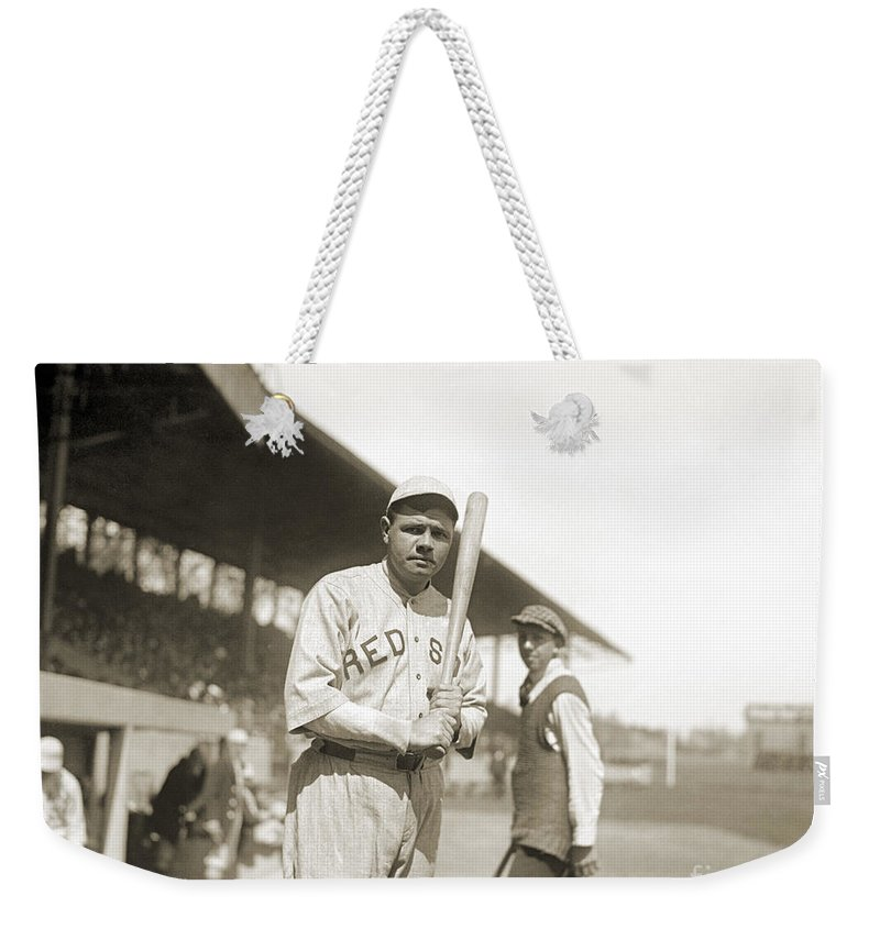 1919 Weekender Tote Bag featuring the photograph George H. Ruth (1895-1948) by Granger
