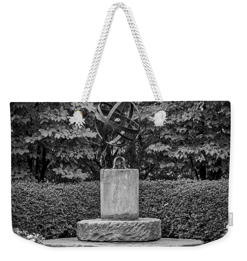 University Circle Weekender Tote Bag featuring the photograph 4387- Sculpture Black And Whi by David Lange