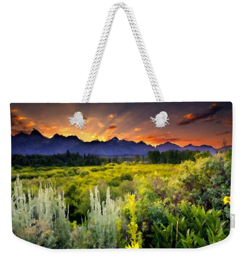Framed Weekender Tote Bag featuring the digital art P G Landscape by Usa Map