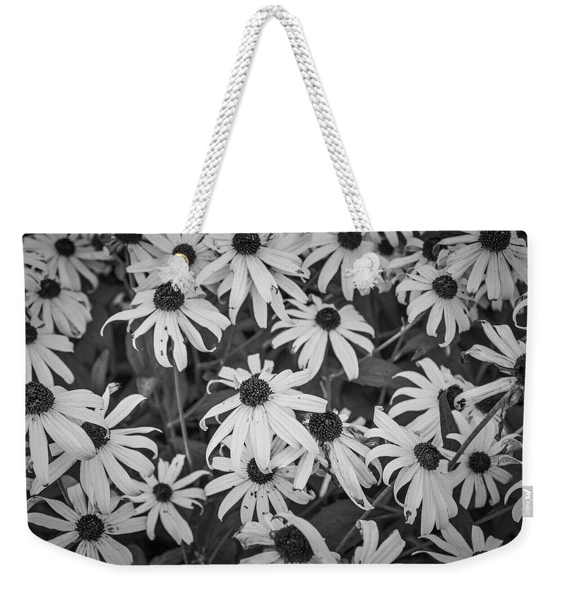 Flowers Weekender Tote Bag featuring the photograph 4400- Daisies Black And White by David Lange