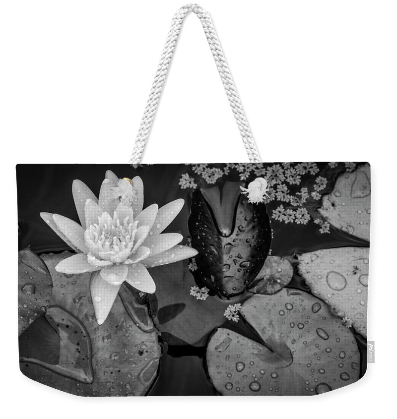 Lily Pad Weekender Tote Bag featuring the photograph 4475- Lily Pads Black And White by David Lange