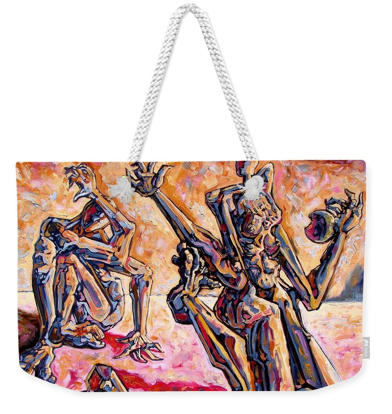 Surrealism Weekender Tote Bag featuring the painting 4.5 Billion Bc by Darwin Leon