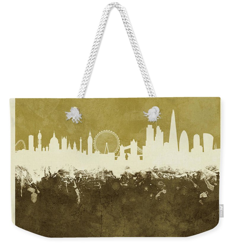 London Weekender Tote Bag featuring the digital art London England Skyline by Michael Tompsett