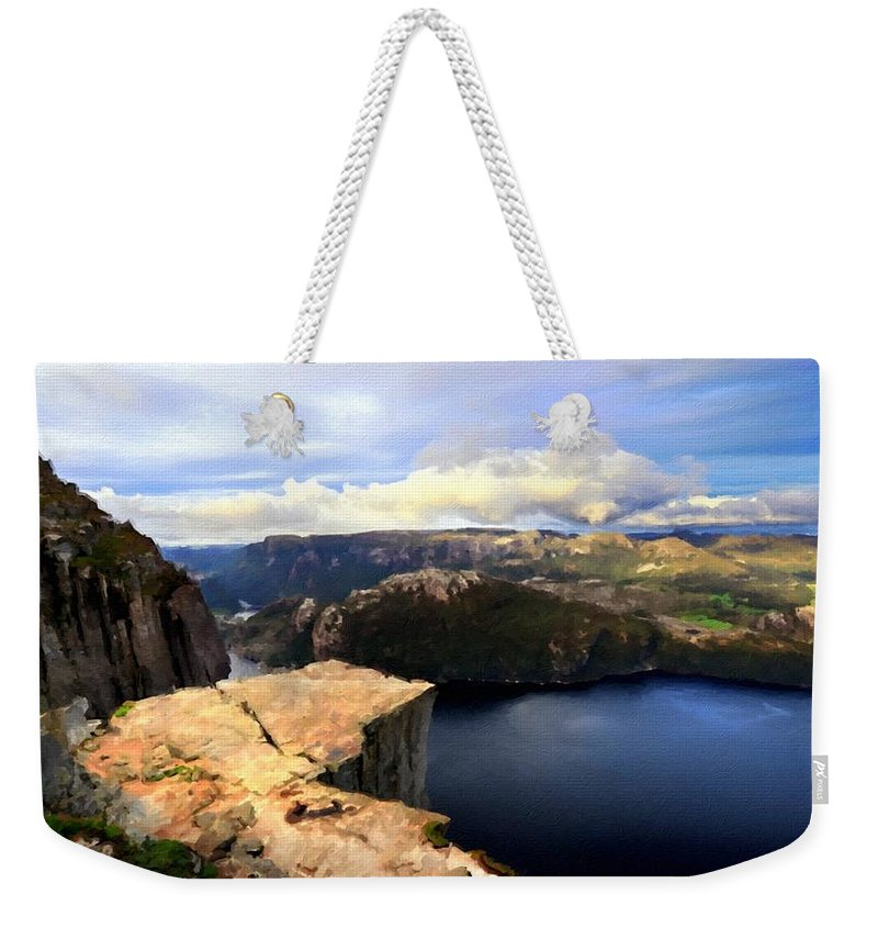 P Weekender Tote Bag featuring the digital art Oil Paintings Landscapes by Usa Map