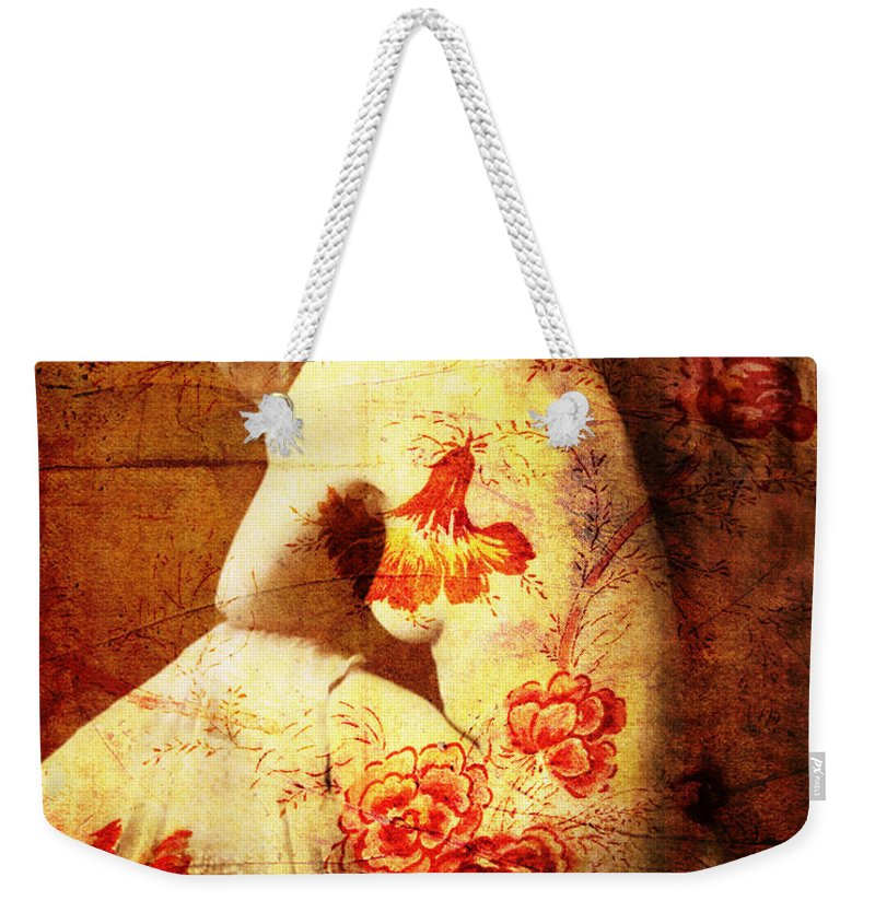 Nostalgic Seduction Weekender Tote Bag featuring the photograph Winsome Woman by Chris Andruskiewicz