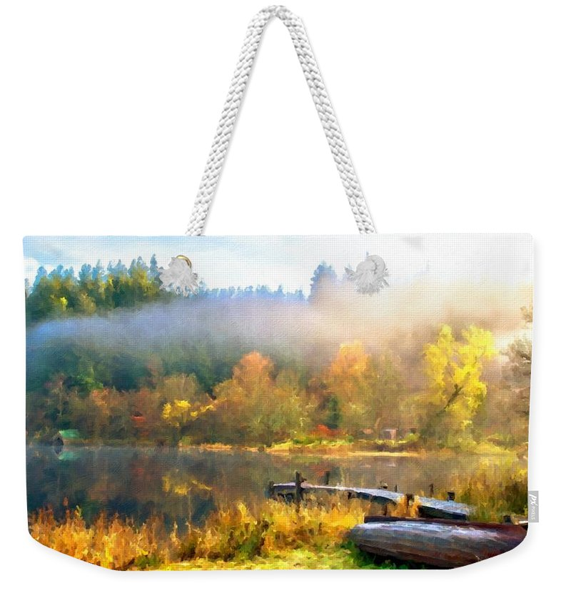 Landscape Weekender Tote Bag featuring the digital art Landscape Oil Painting On Canvas by Usa Map