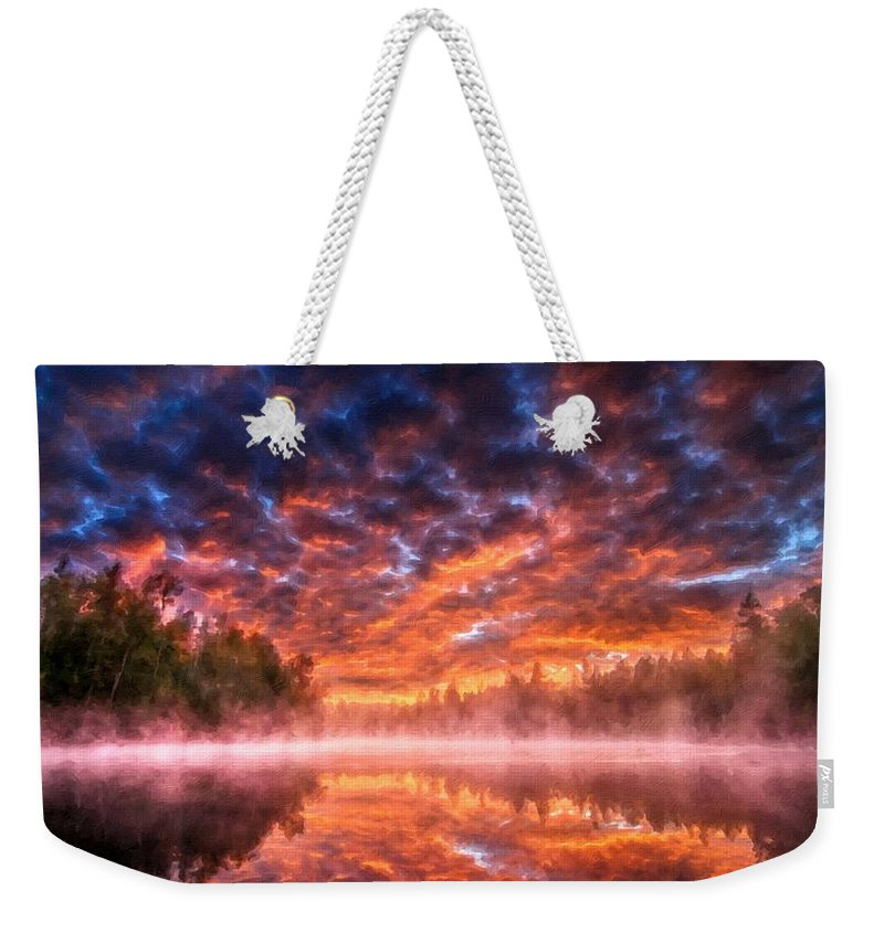 In Weekender Tote Bag featuring the digital art Landscape Acrylic by Usa Map