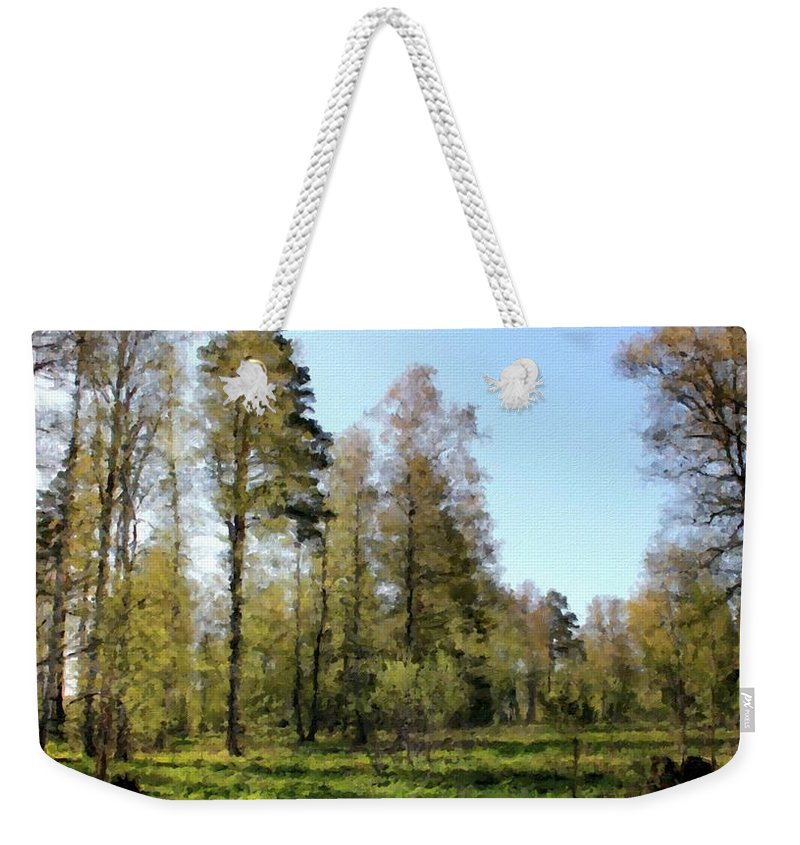 V Weekender Tote Bag featuring the digital art Oil Canvas Landscape by Usa Map