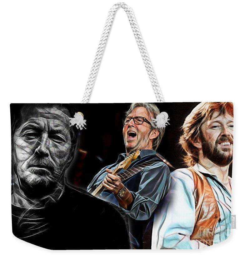 Eric Clapton Weekender Tote Bag featuring the mixed media Eric Clapton Collection by Marvin Blaine