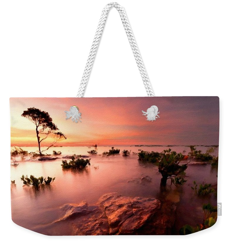 Oil Weekender Tote Bag featuring the digital art Plan E Landscape by Usa Map