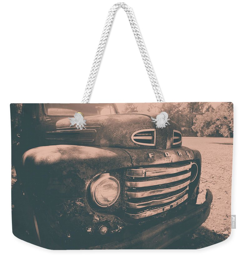1949 Ford Pickup Weekender Tote Bag featuring the photograph '49 Ford Pickup by Cynthia Wolfe