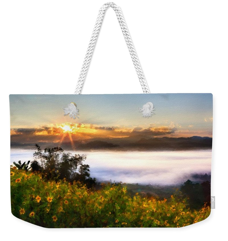 Art Weekender Tote Bag featuring the digital art Oil Canvas Landscape by Usa Map