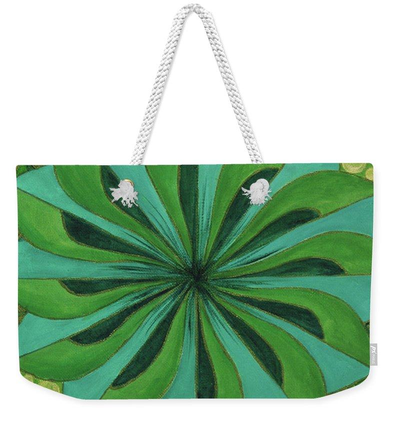 Mandala Weekender Tote Bag featuring the painting 4th Mandala - Heart Chakra by Jennifer Christenson