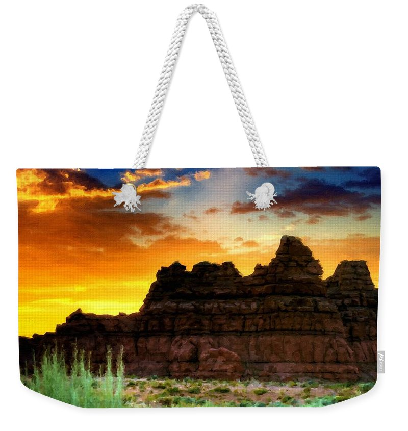 By Weekender Tote Bag featuring the digital art A Landscape Drawing by Usa Map