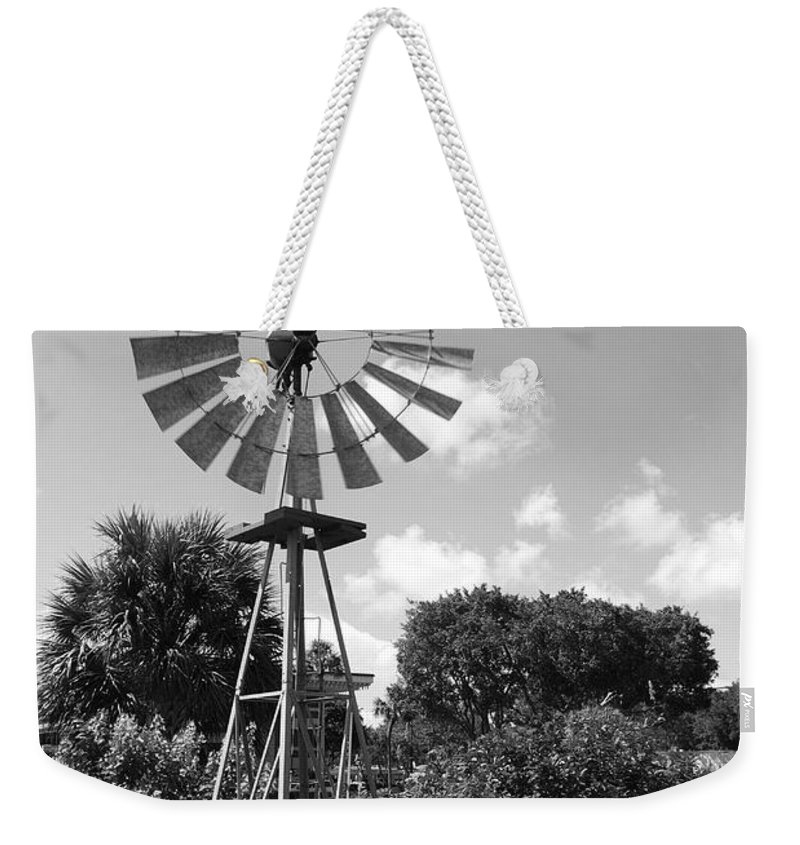 Black And White Weekender Tote Bag featuring the photograph Aermotor Windmill by Rob Hans