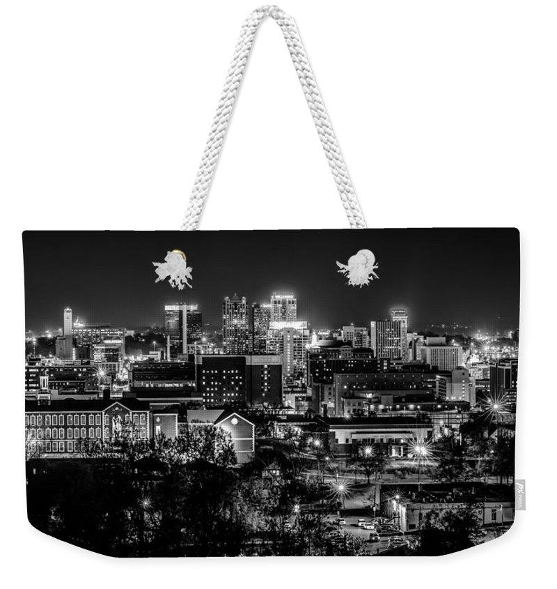 Aerial View Weekender Tote Bag featuring the photograph Birmingham Alabama Evening Skyline by Alex Grichenko