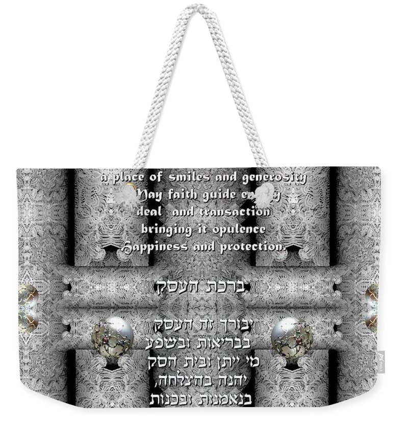 Business Weekender Tote Bag featuring the digital art Business Blessing by Sandrine Kespi