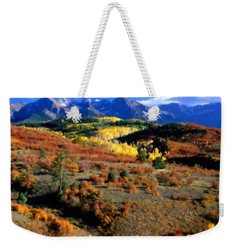 Painting Weekender Tote Bag featuring the digital art C S Landscape by Usa Map