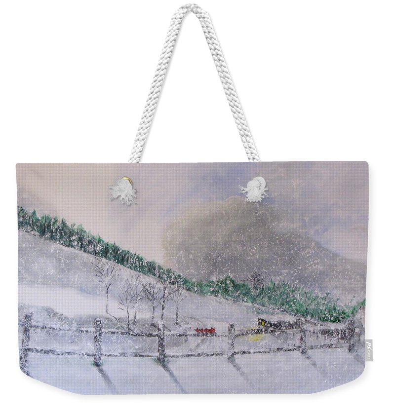 Snow Weekender Tote Bag featuring the painting 5 Card Stud by Gary Smith
