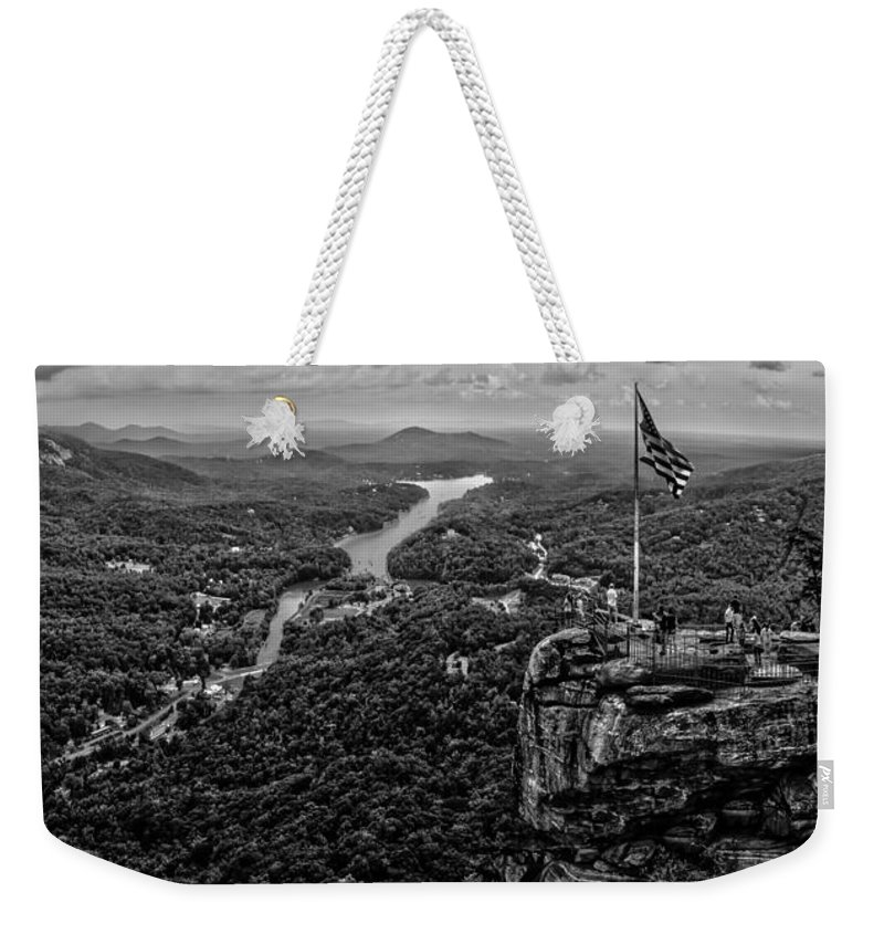 Area Weekender Tote Bag featuring the photograph Chimney Rock At Lake Lure by Alex Grichenko