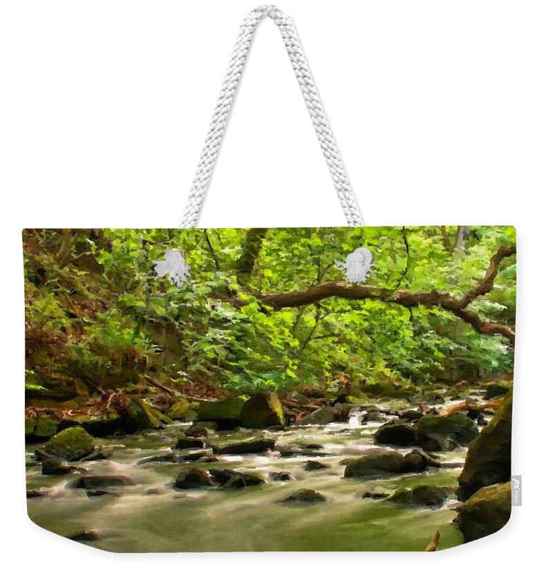 Nature Weekender Tote Bag featuring the digital art Framed Landscape by Usa Map