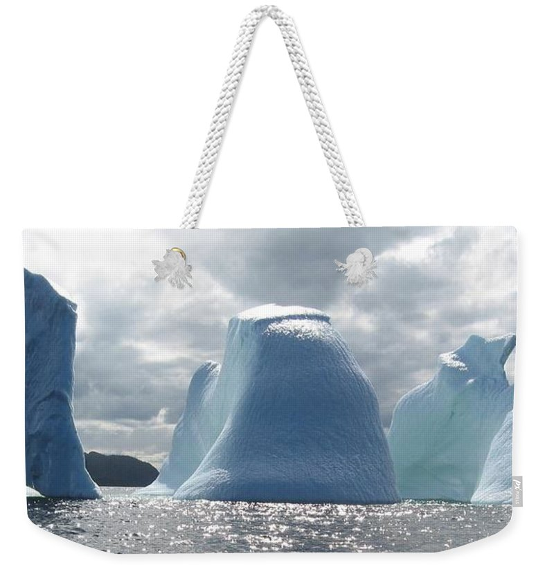 Iceberg Photograph Ice Water Ocean Altantic Newfoundland Summer Weekender Tote Bag featuring the photograph Iceberg by Seon-Jeong Kim