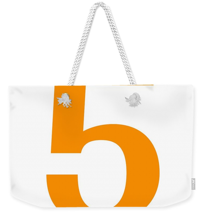 5 Weekender Tote Bag featuring the digital art 5 In Tangerine Typewriter Style by Custom Home Fashions