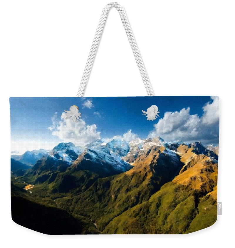 Picture Weekender Tote Bag featuring the digital art Landscape Acrylic by Usa Map