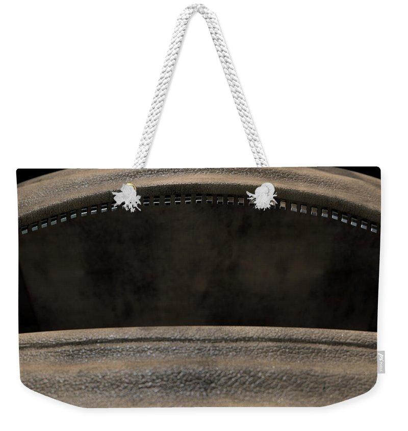 Duffel Bag Weekender Tote Bag featuring the digital art Open Empty Brown Duffel Bag by Allan Swart