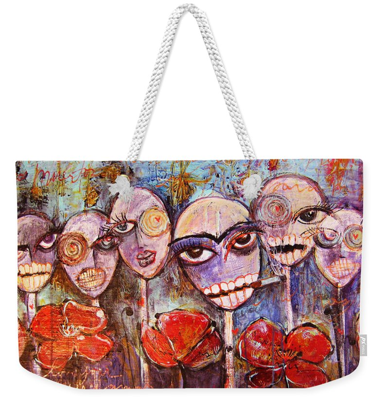 Dia De Los Muertos Weekender Tote Bag featuring the painting 5 Poppies For The Dead by Laurie Maves ART