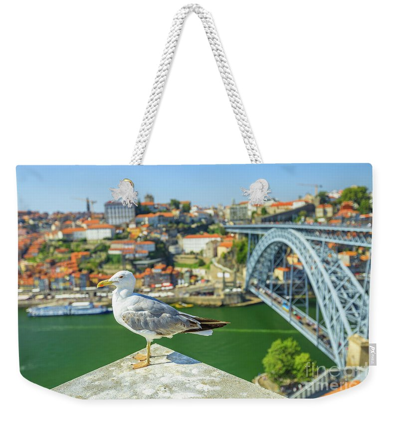 Porto Weekender Tote Bag featuring the photograph Porto Skyline Seagull by Benny Marty