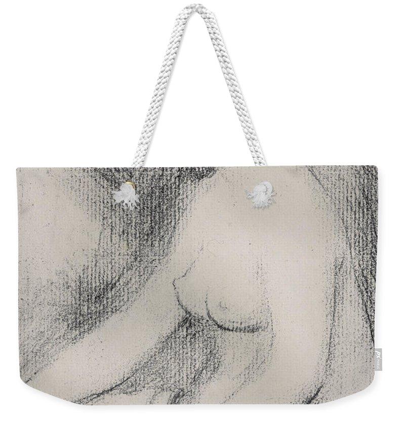 Renoir Weekender Tote Bag featuring the drawing Seated Bather by Pierre Auguste Renoir