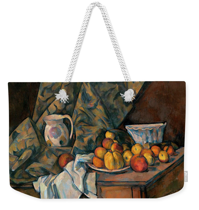 Still Life Weekender Tote Bag featuring the painting Still Life With Apples And Peaches by Paul Cezanne