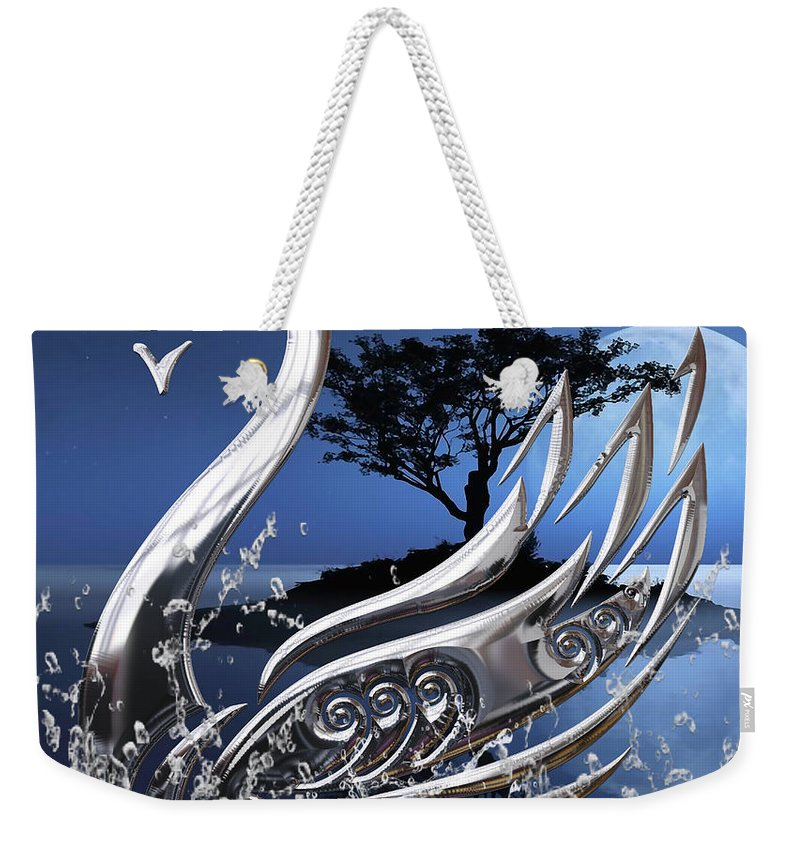 Swan Weekender Tote Bag featuring the mixed media Swan Art. by Marvin Blaine