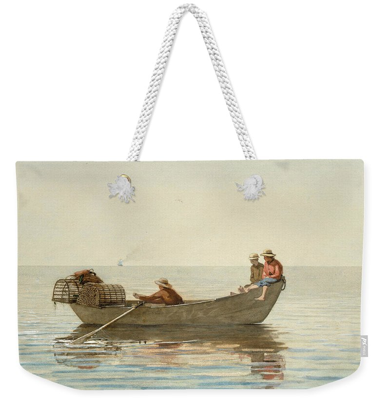 Winslow Homer Weekender Tote Bag featuring the painting Three Boys In A Dory With Lobster Pots by Winslow Homer