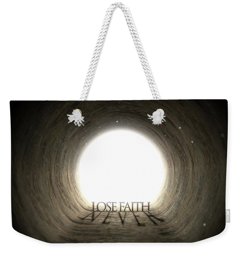 Abstract Weekender Tote Bag featuring the digital art Tunnel Text And Shadow Concept by Allan Swart